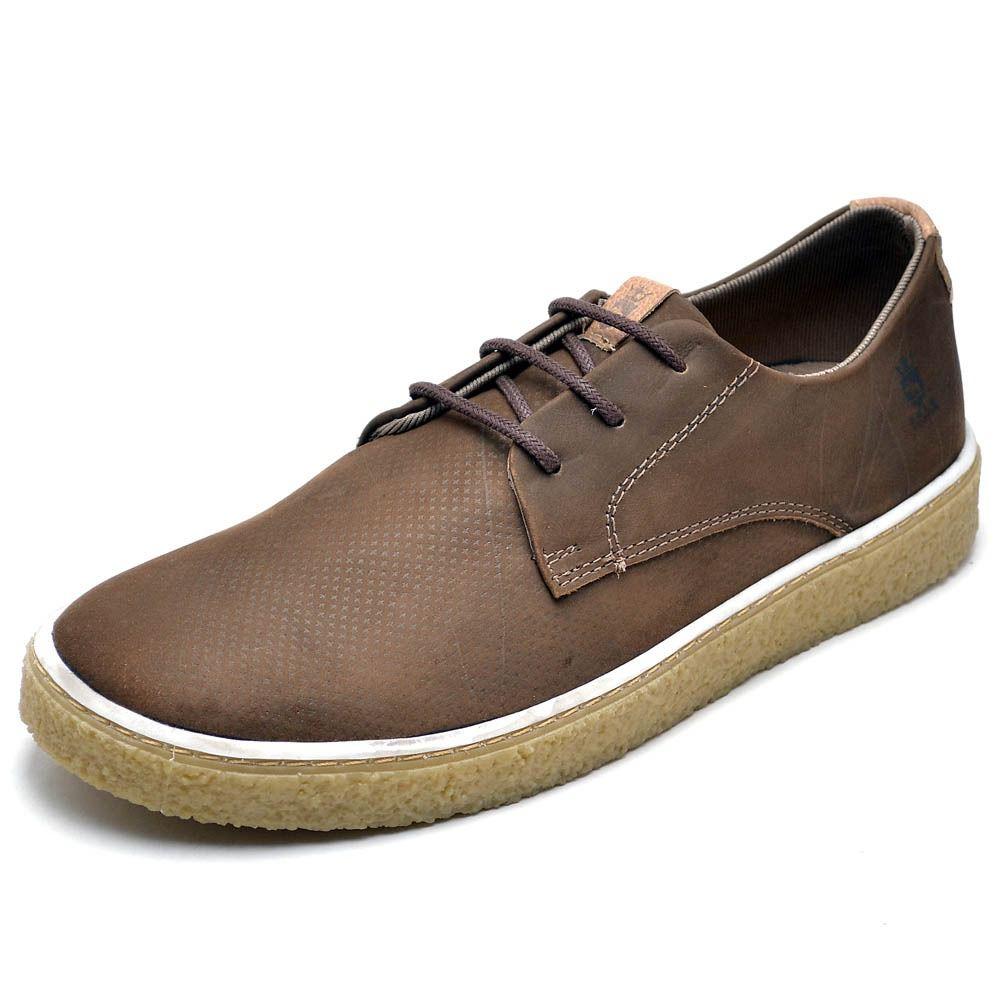 Sapato social cano baixo em couro na cor café