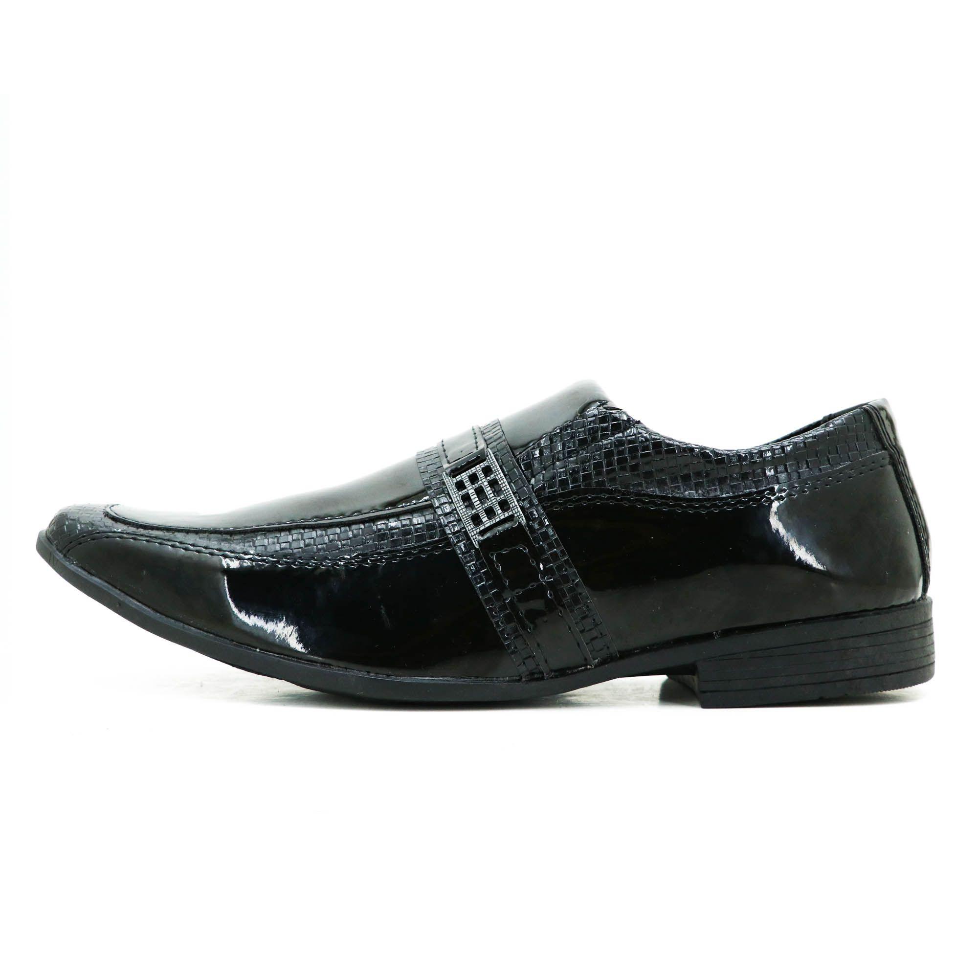 Sapato social de couro técnologico na cor preta verniz 5005
