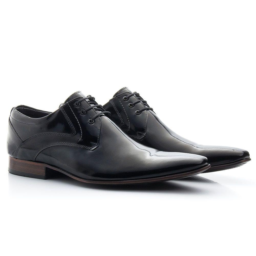 Sapato social em couro preto verniz masculino 379