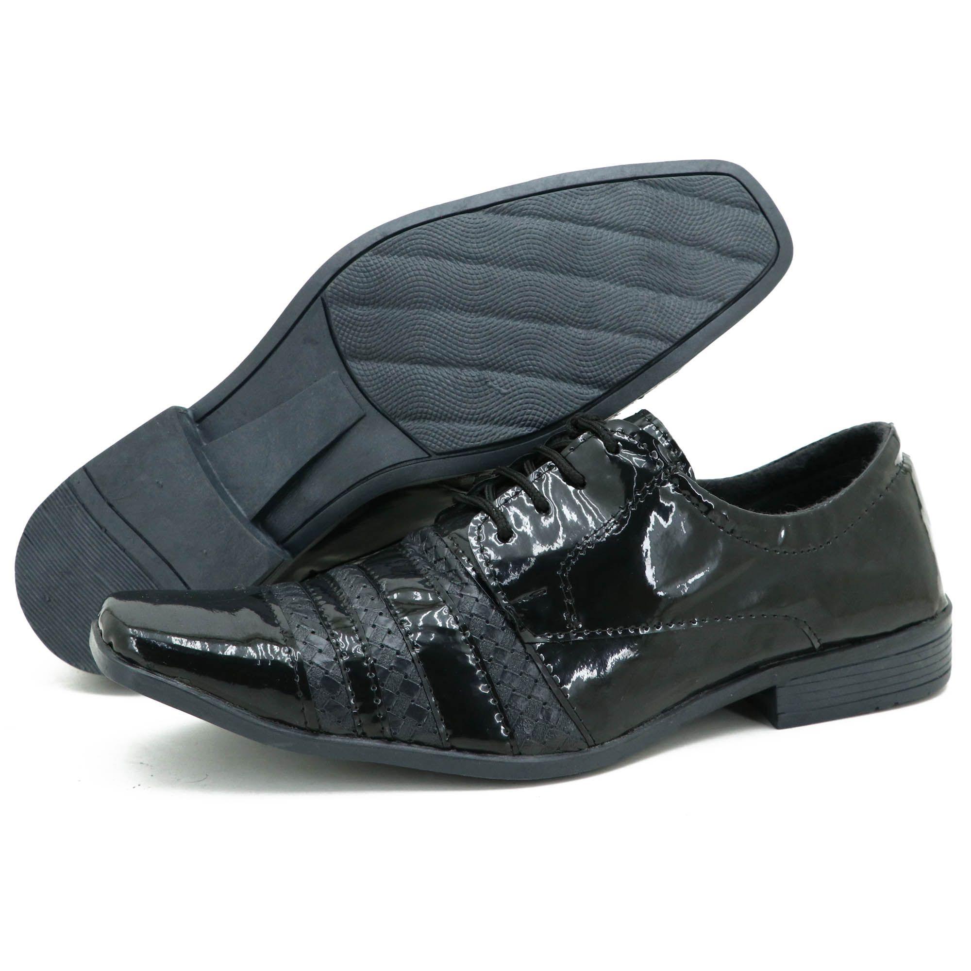 Sapato social executivo preto em couro técnologico  5014