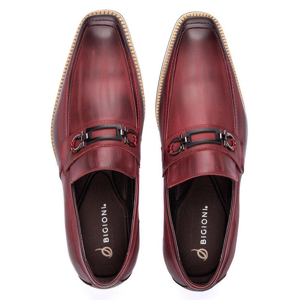 Sapato social masculino bordô em couro legítimo com fivela 523