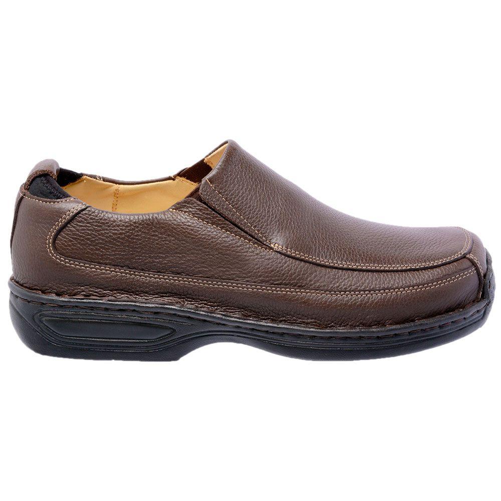 Sapato social masculino em couro bovino legítimo anti-stress na cor café
