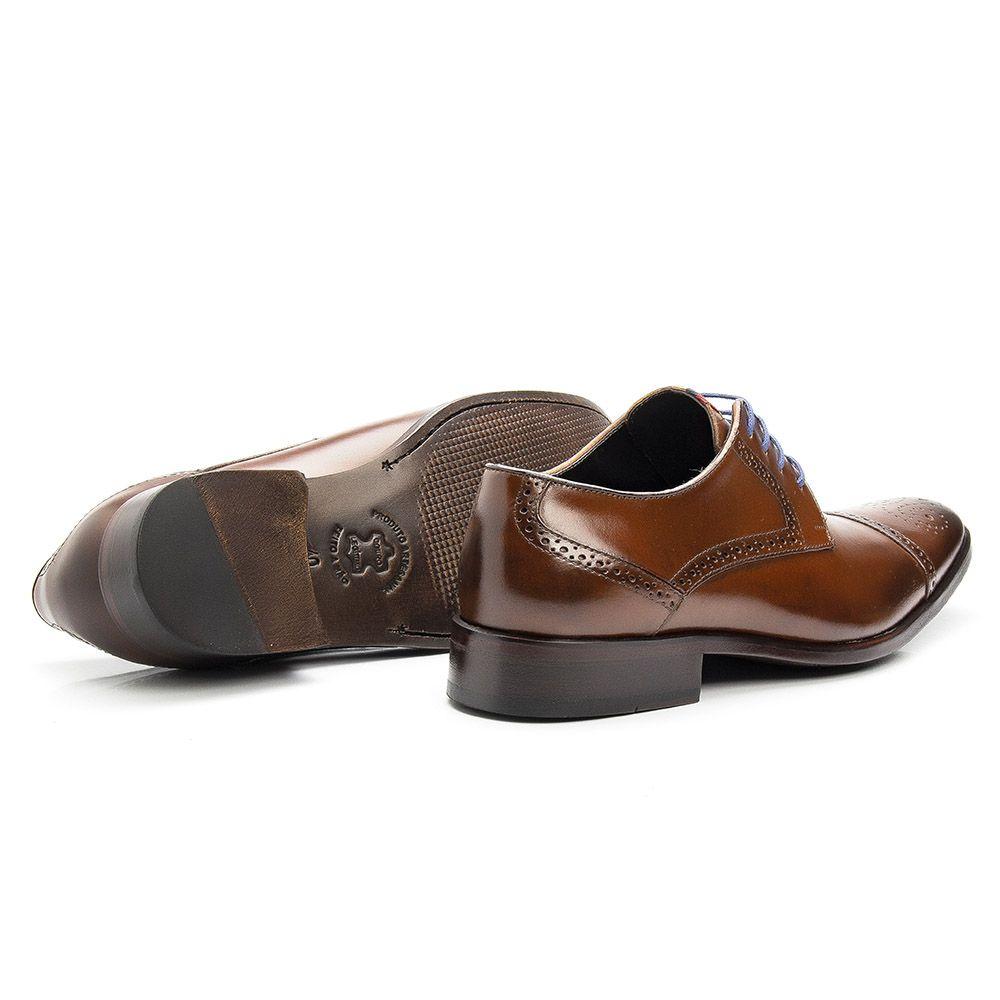 Sapato social masculino whisky em couro legítimo bovino de amarrar 658
