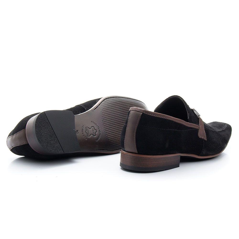 Sapato social mocassim masculino preto camurça 404