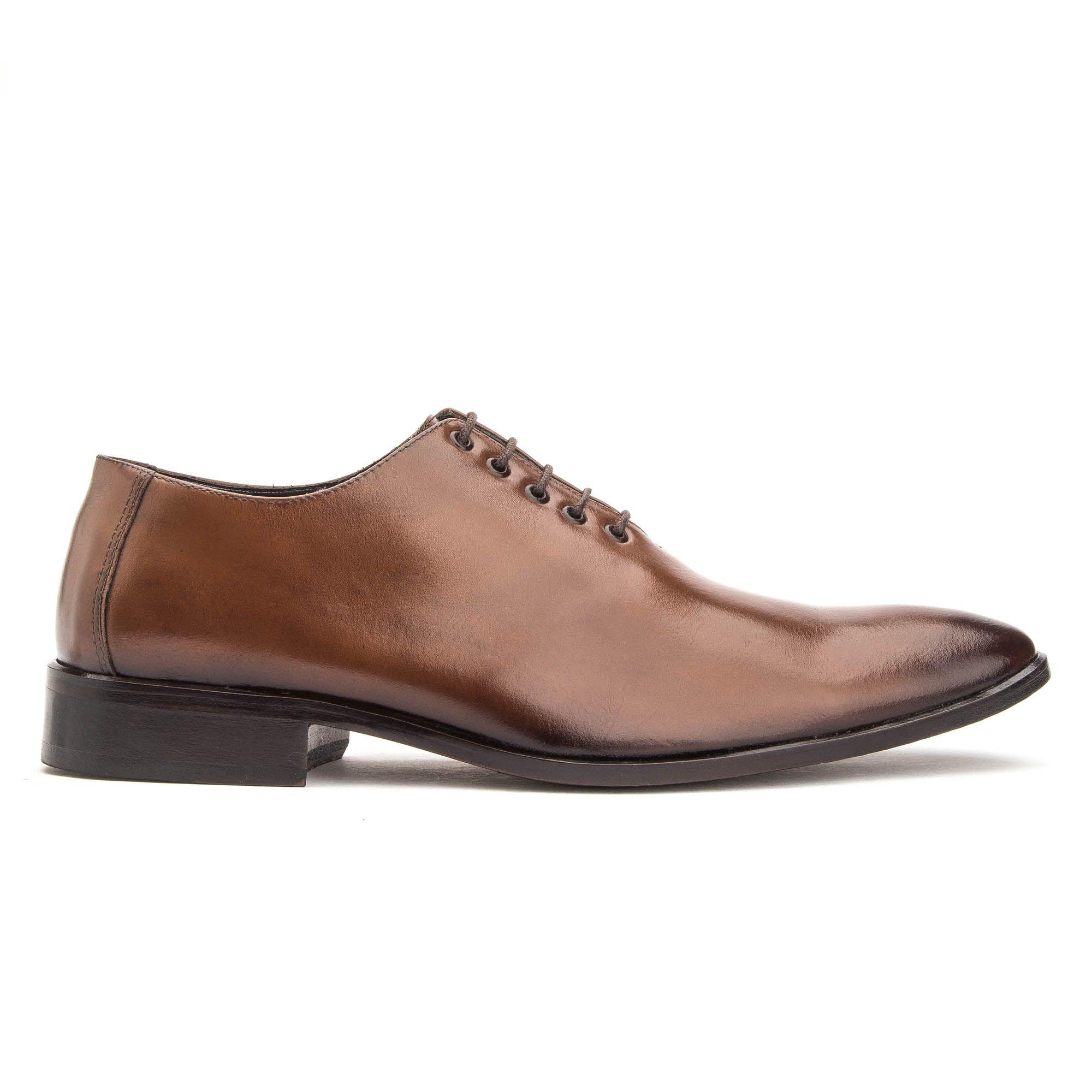 Sapato social na cor whisky masculino em couro legítimo de amarrar