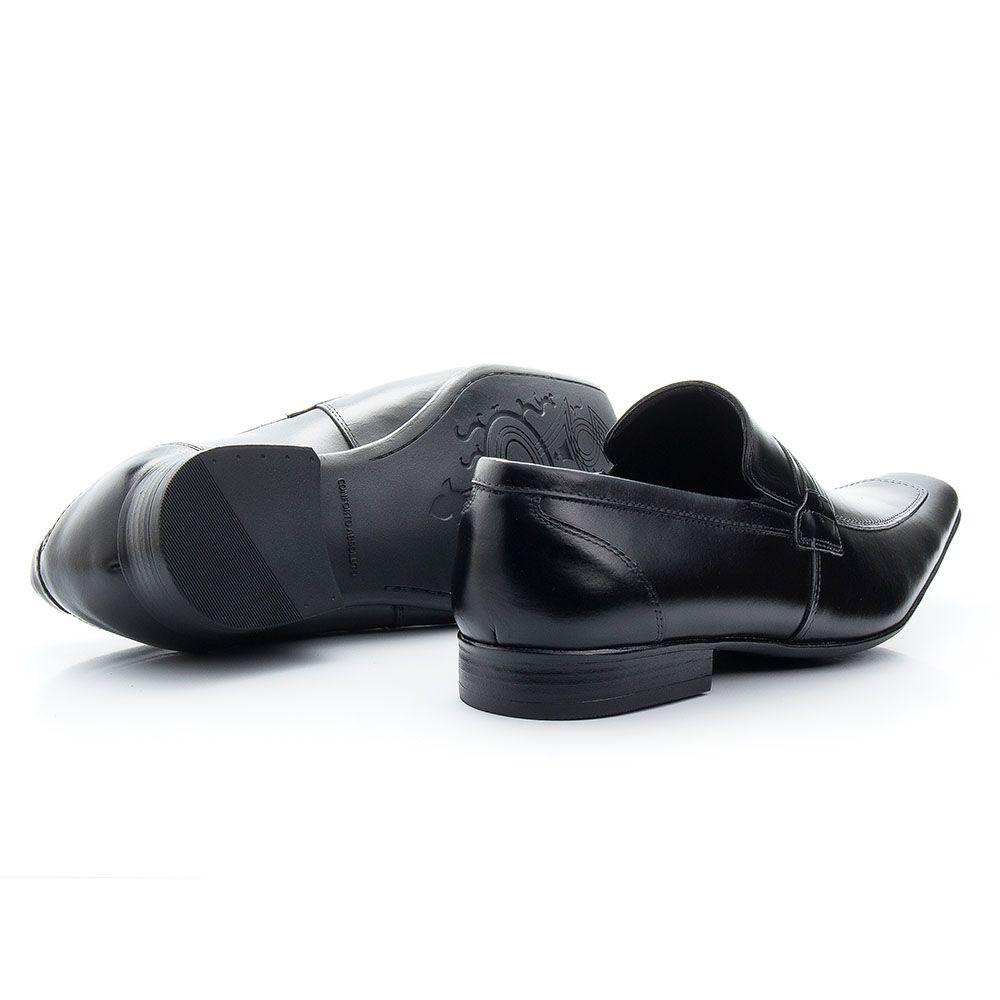 Sapato preto social masculino italiano bico fino 359
