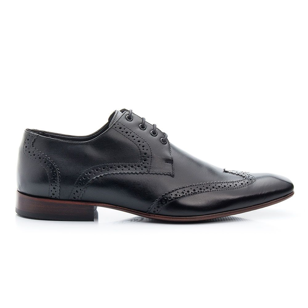 Sapato social vegas em couro legítimo oxford preto 516