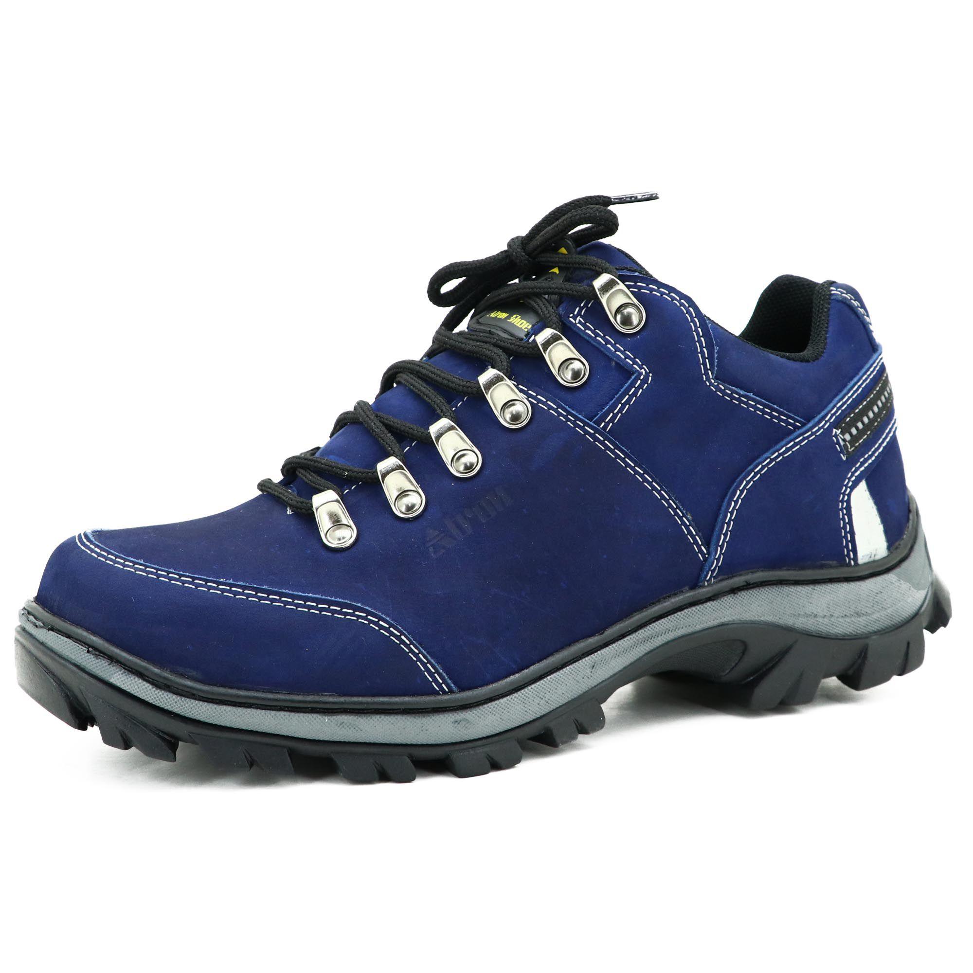 Tênis Adventure para trilha em couro na cor azul 269