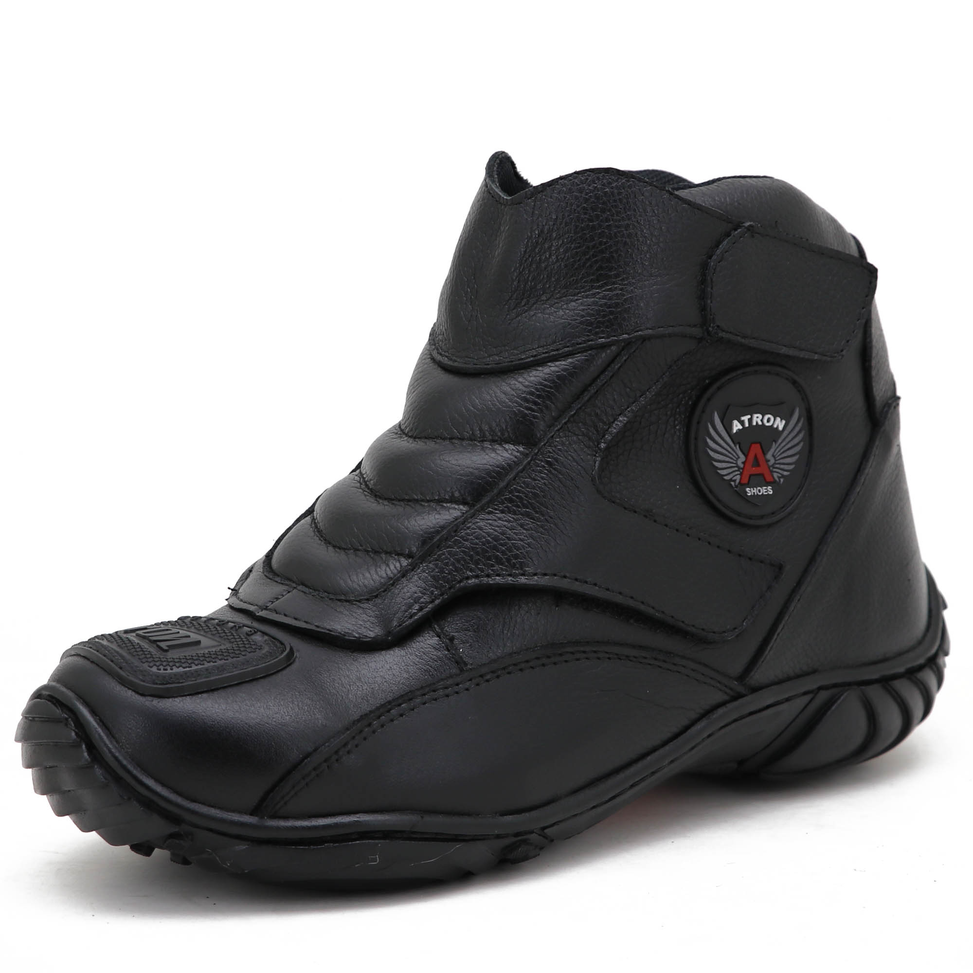 Tênis bota motociclista couro preto unissex 270 com chinela estampada Atron Shoes e GRATIS UMA CARTEIRA