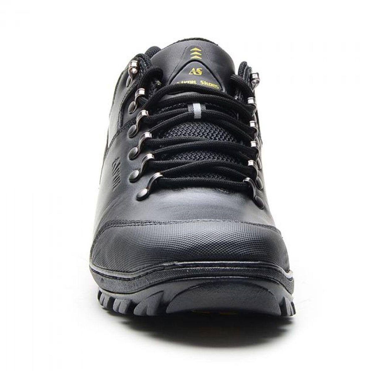Tênis adventure em couro legítimo cor preto Atron Shoes 269