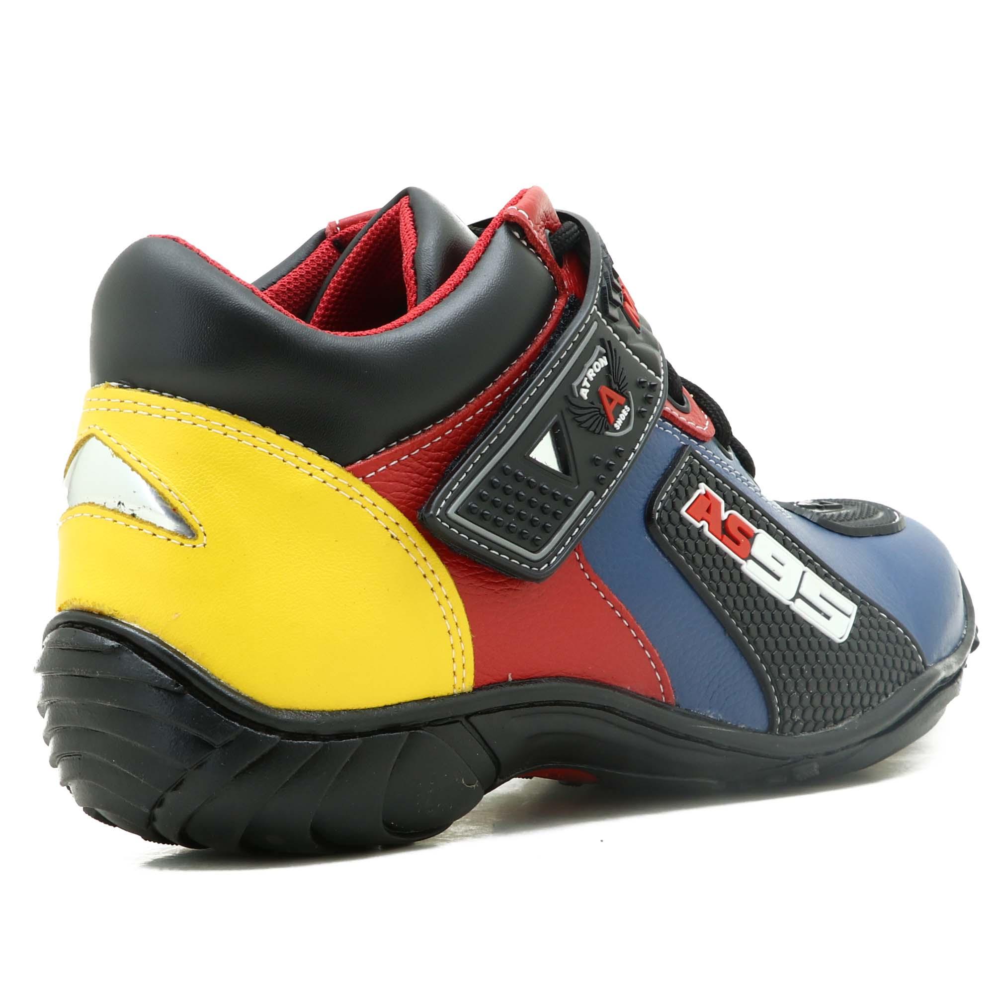 Tênis motociclista AS95 de couro legítimo nas cores azul amarelo e vermelho 403