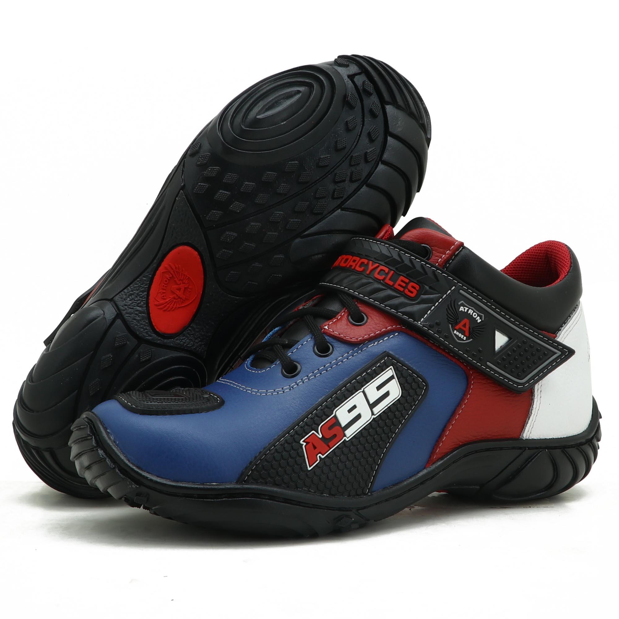 Tênis motociclista AS95 de couro legítimo nas cores azul branco e vermelho 403