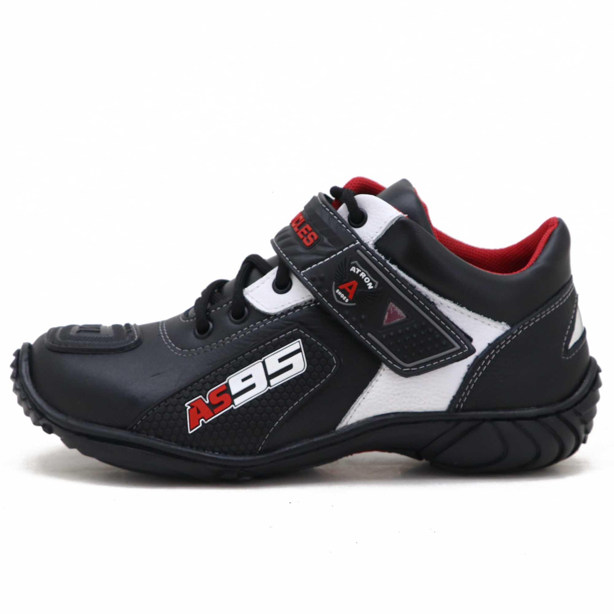 Tênis motociclista AS95 de couro legítimo nas cores preto com branco 403