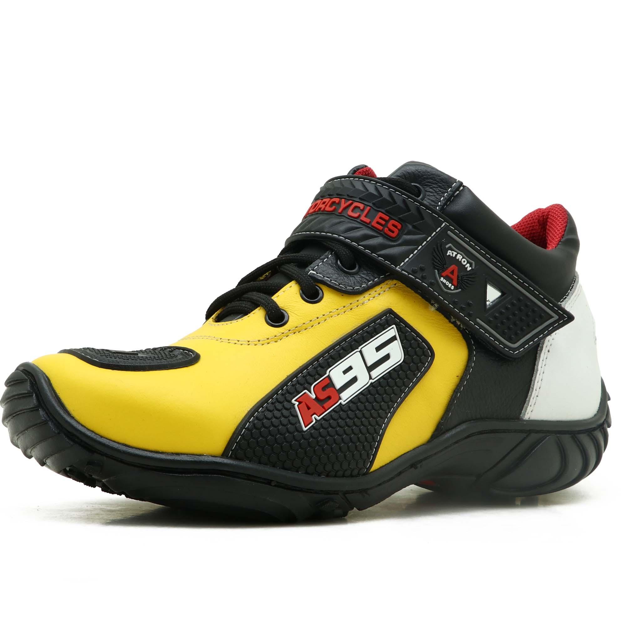 Tênis motociclista AS95 em couro legítimo na cor amarelo branco e preto 403