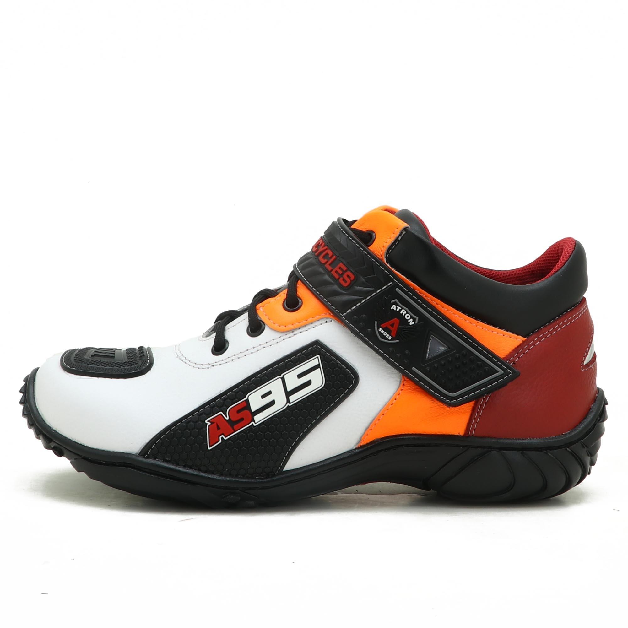 Tênis Motociclista AS95 Em couro legítimo nas cores branco vermelho e laranja 403