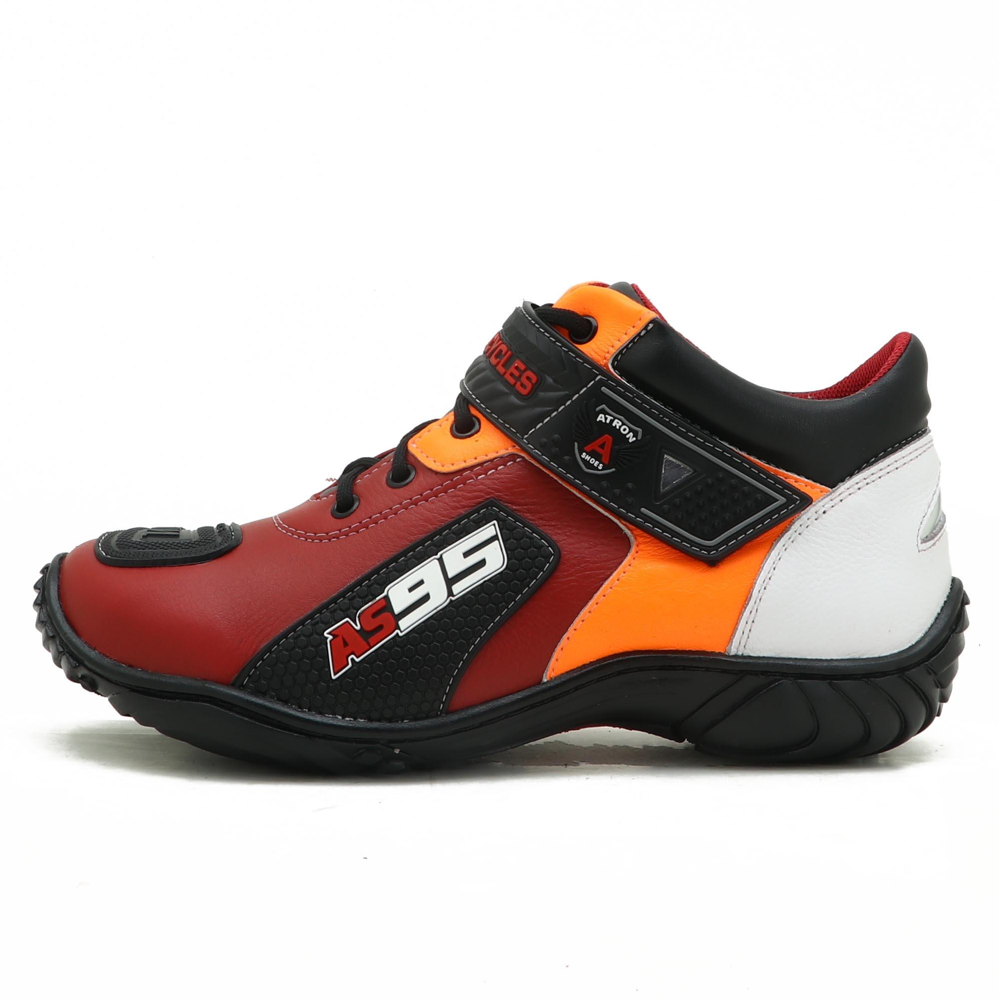 Tênis motociclista AS95 em couro legítimo nas cores vermelho branco e laranja 403