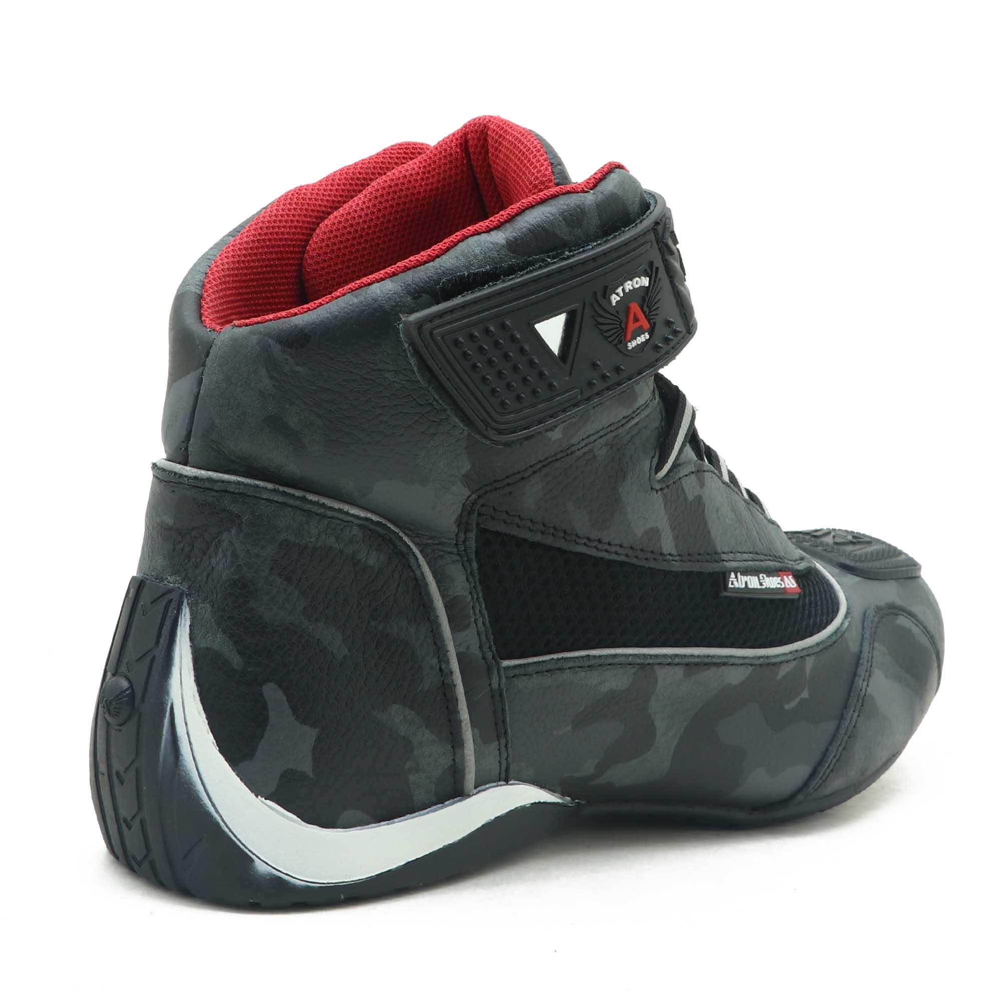 Tênis motociclista cano alto em couro legítimo camuflado cinza Atron Shoes 310