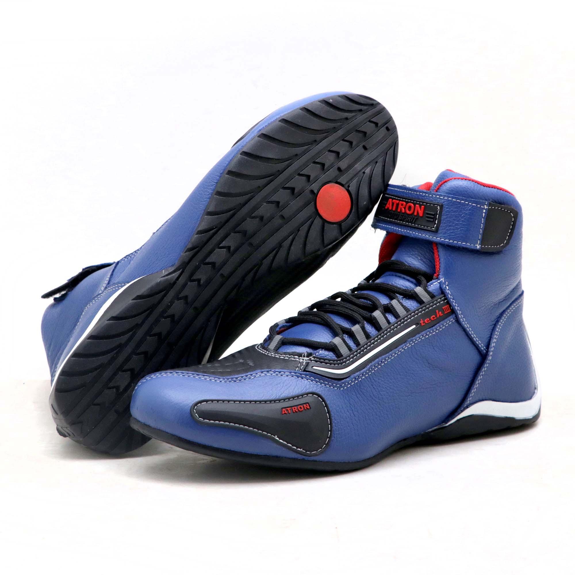 Tênis motociclista cano alto em couro legítimo nas cores azul e preto 311