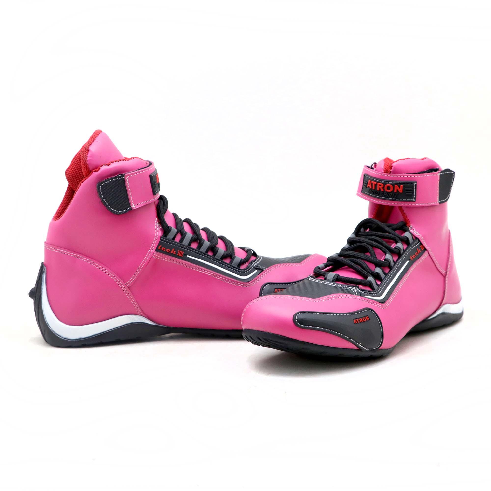 Tênis motociclista cano alto em couro legítimo nas cores pink preto 311