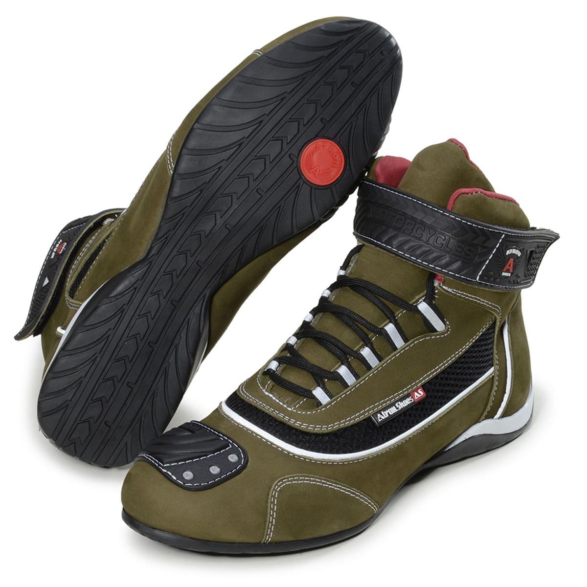 Tênis motociclista cano médio oliva e couro legítimo com chinelo de borracha com carteira de brinde 310