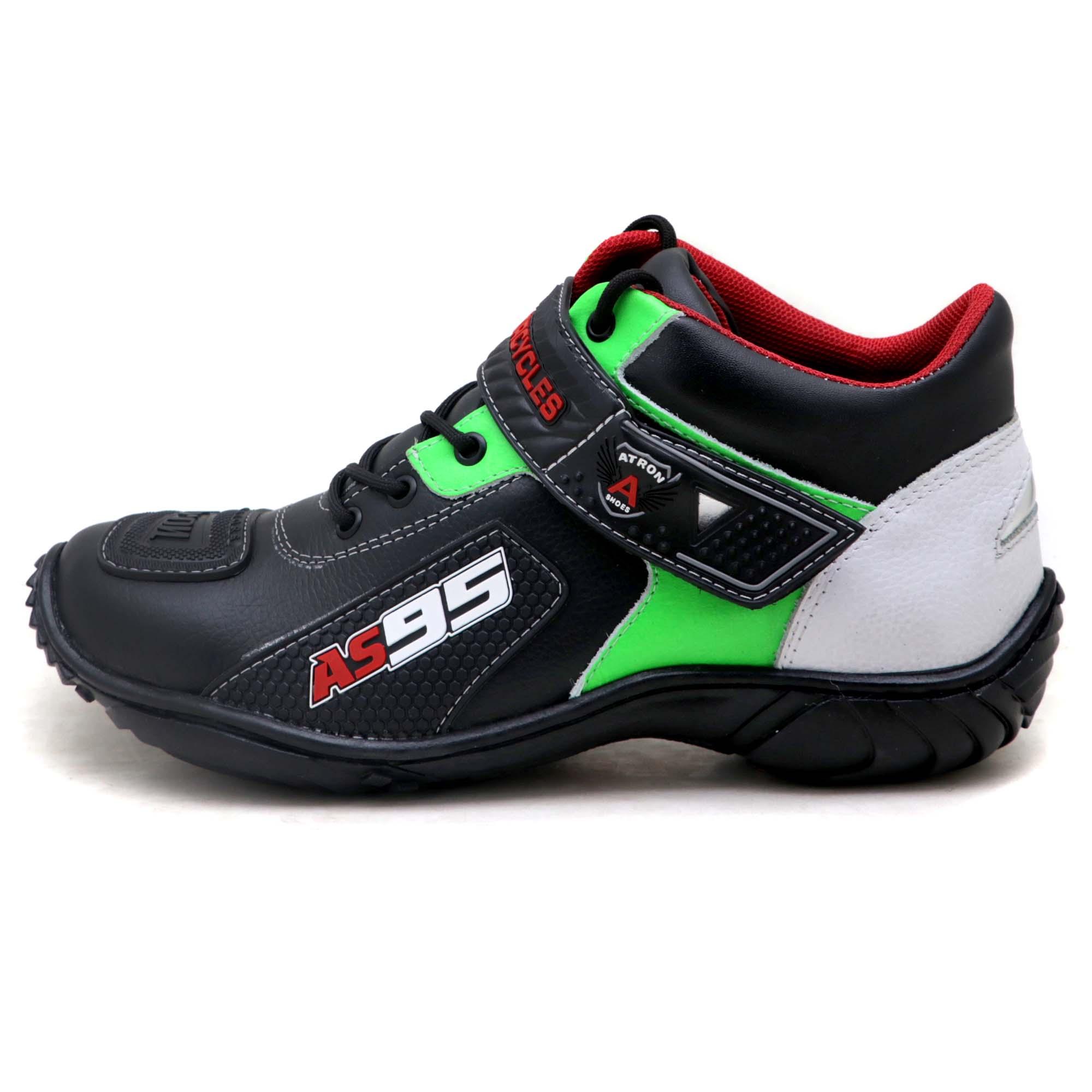 Tênis motociclista em couro legítimo AS95 nas cores preto branco e verde 403