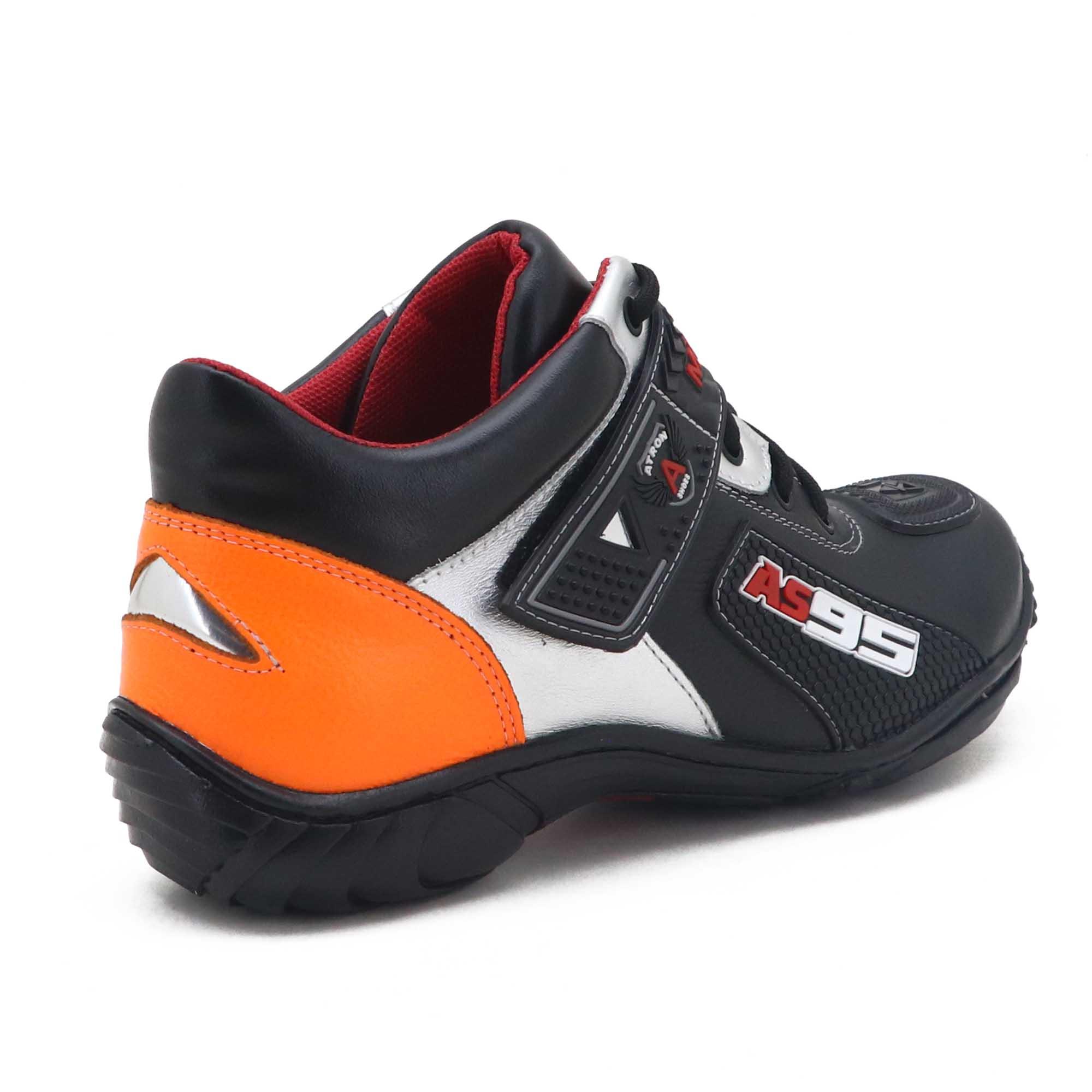 Tênis motociclista em couro legítimo nas cores preto laranja e prata 403