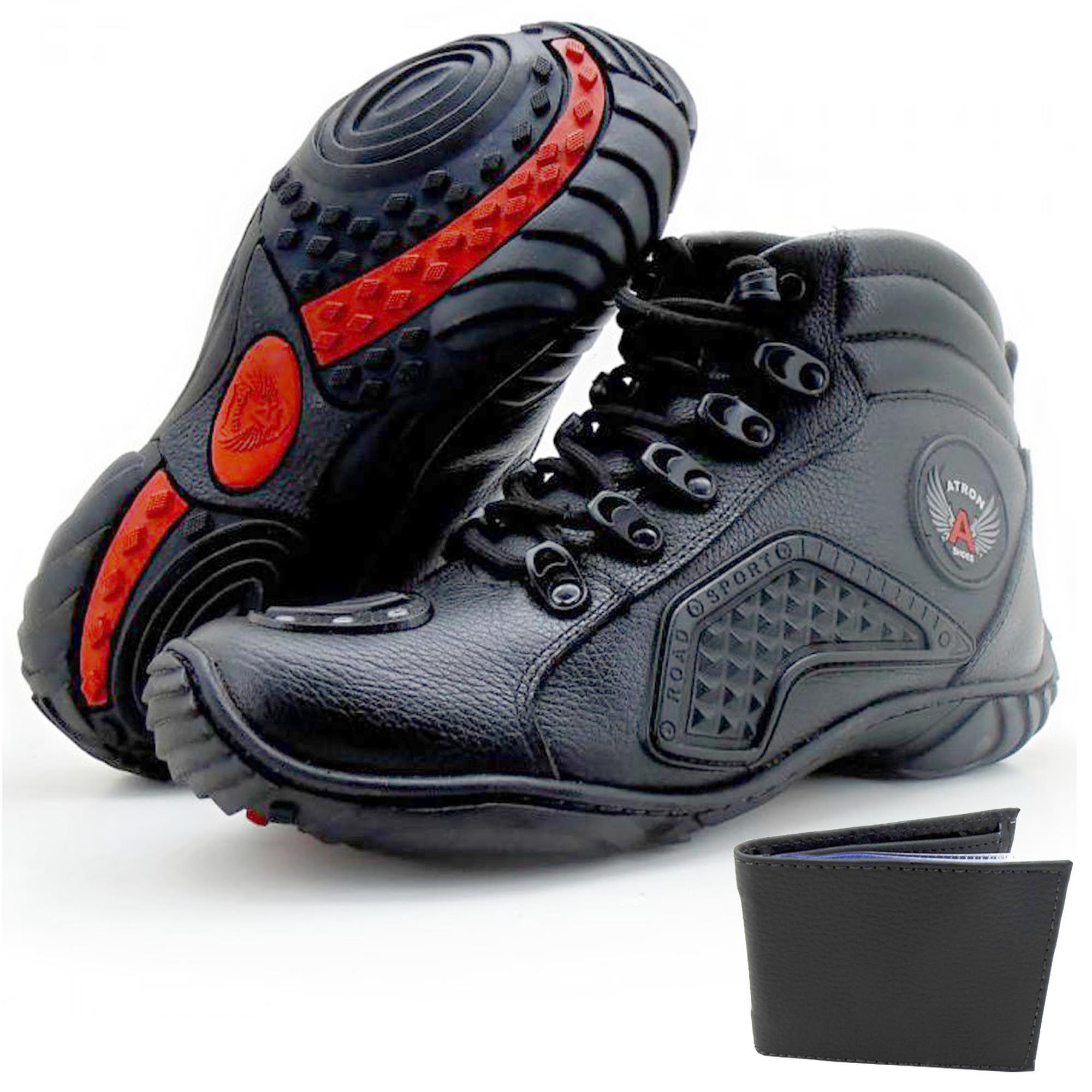 Tênis motociclista em couro na cor preta Atrons Shoes - GRÁTIS 1 CARTEIRA - 274