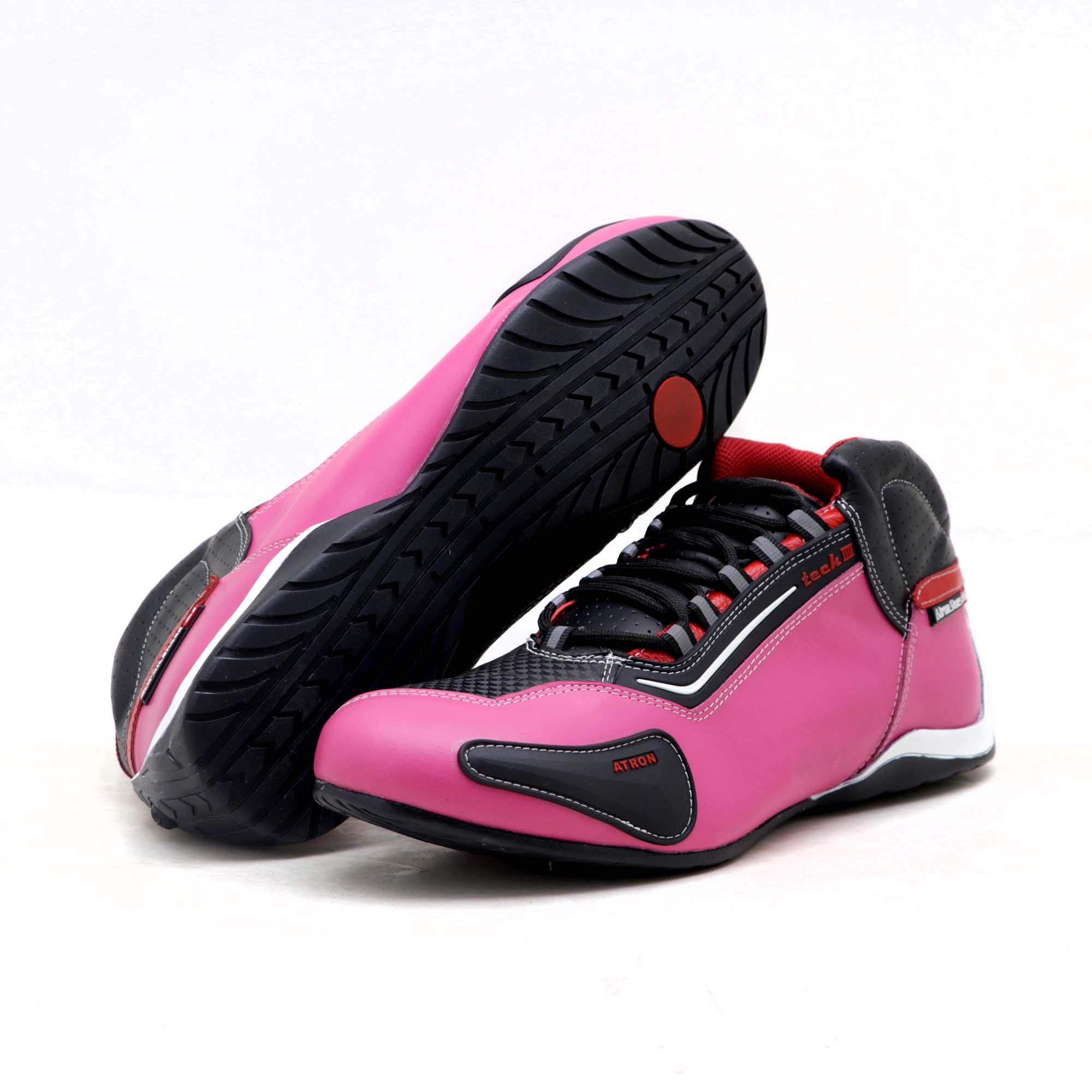 Tênis motociclista feminino em couro legítimo na cor rosa e preto 312