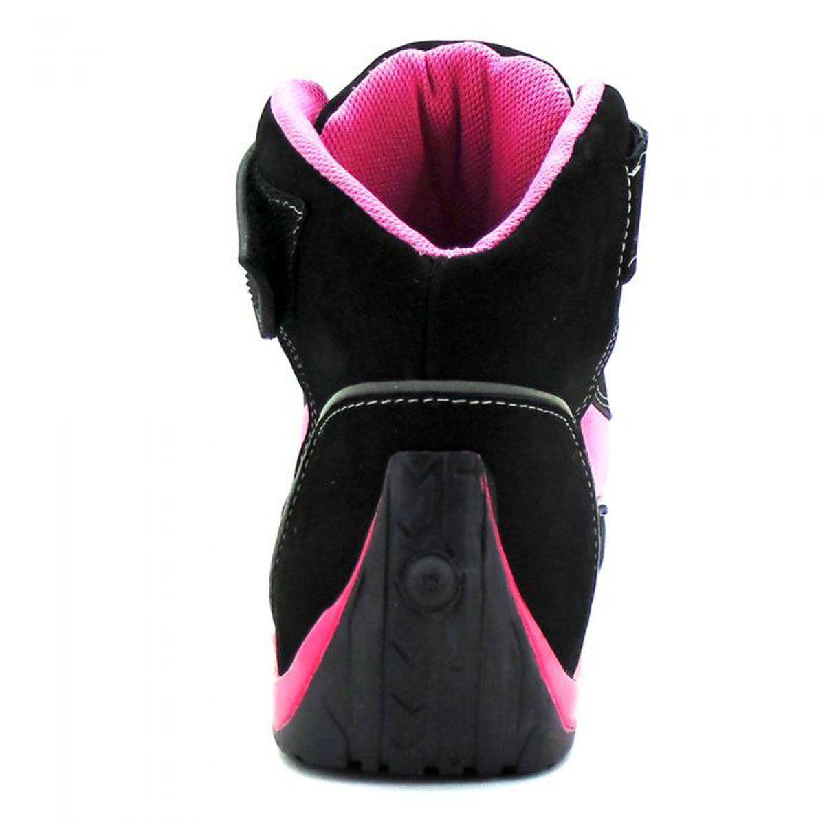 Tênis de motociclista com refletivo de cano alto na cor pink 310