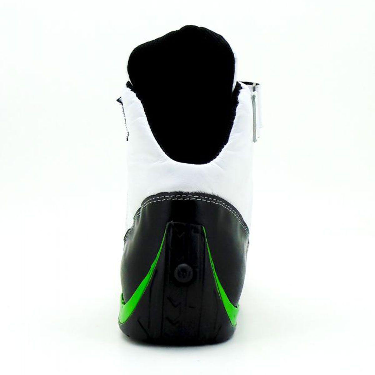 Tênis motociclista com refletivo cano médio em couro legítimo verniz preto e verde limão 311