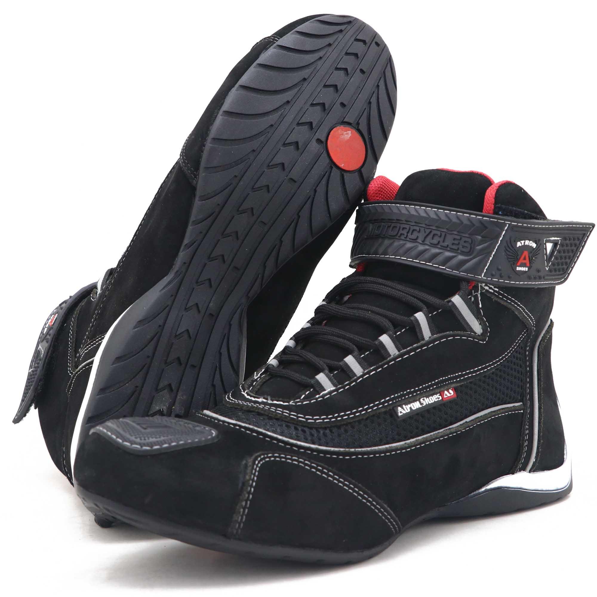 Tênis para motociclista com refletivo de cano alto de couro preto 310