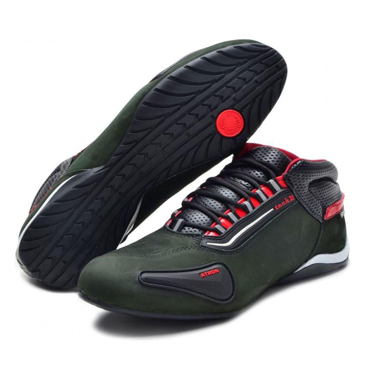 Tênis para motociclista com refletivo de cano baixo na cor verde 312