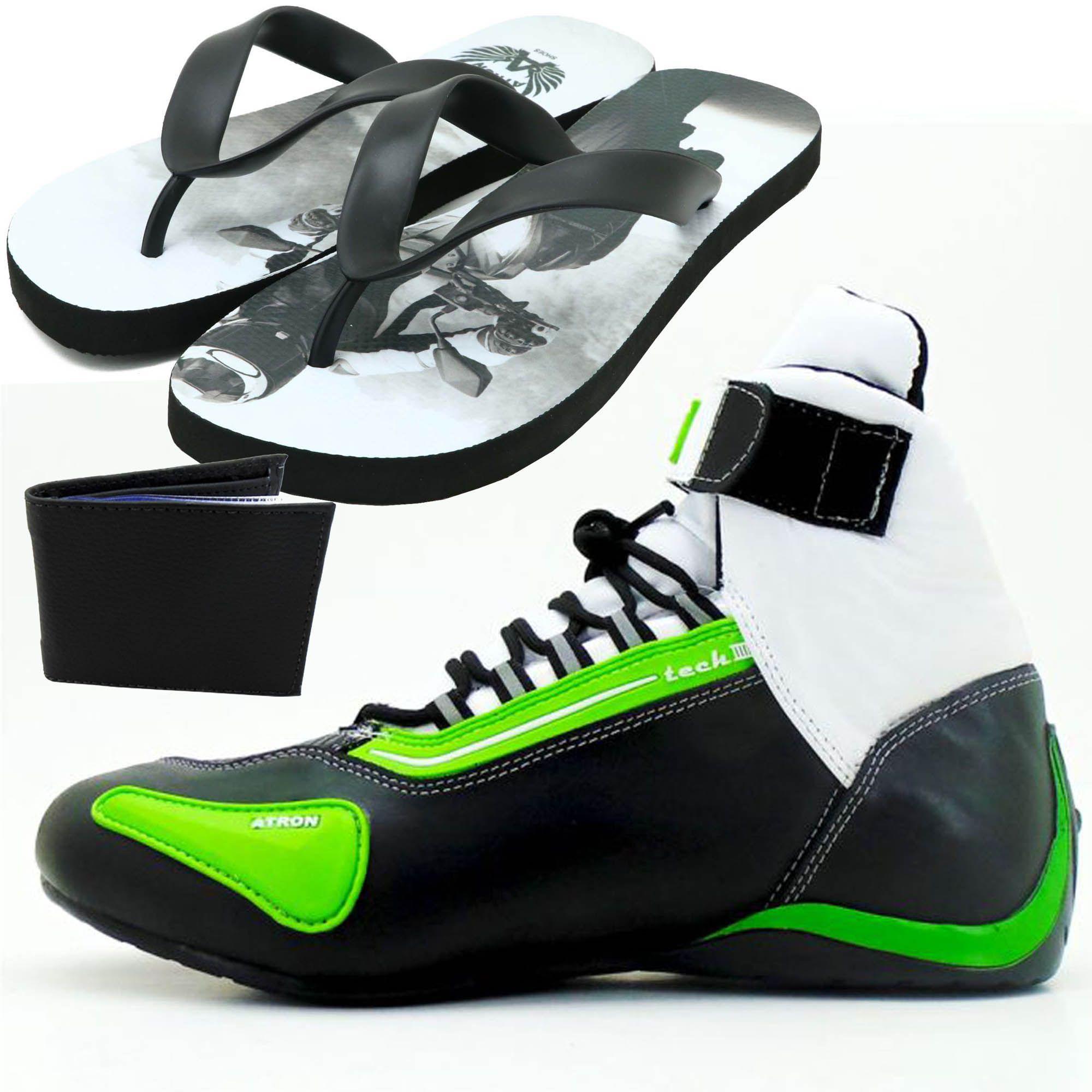 Tênis preto branco e verde cano alto em couro legítimo 311 com chinelo de estampa motociclista - GRATIS UMA CARTEIRA