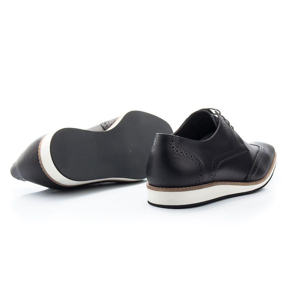 Tênis sapato social de couro legítimo na cor preta oxford 363