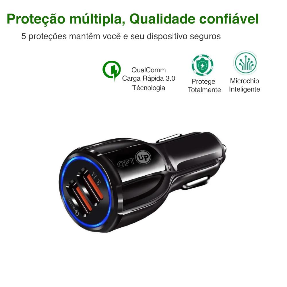 OPTUP Carregador Turbo Veicular QUALCOMM 3.0 - 2 Entradas
