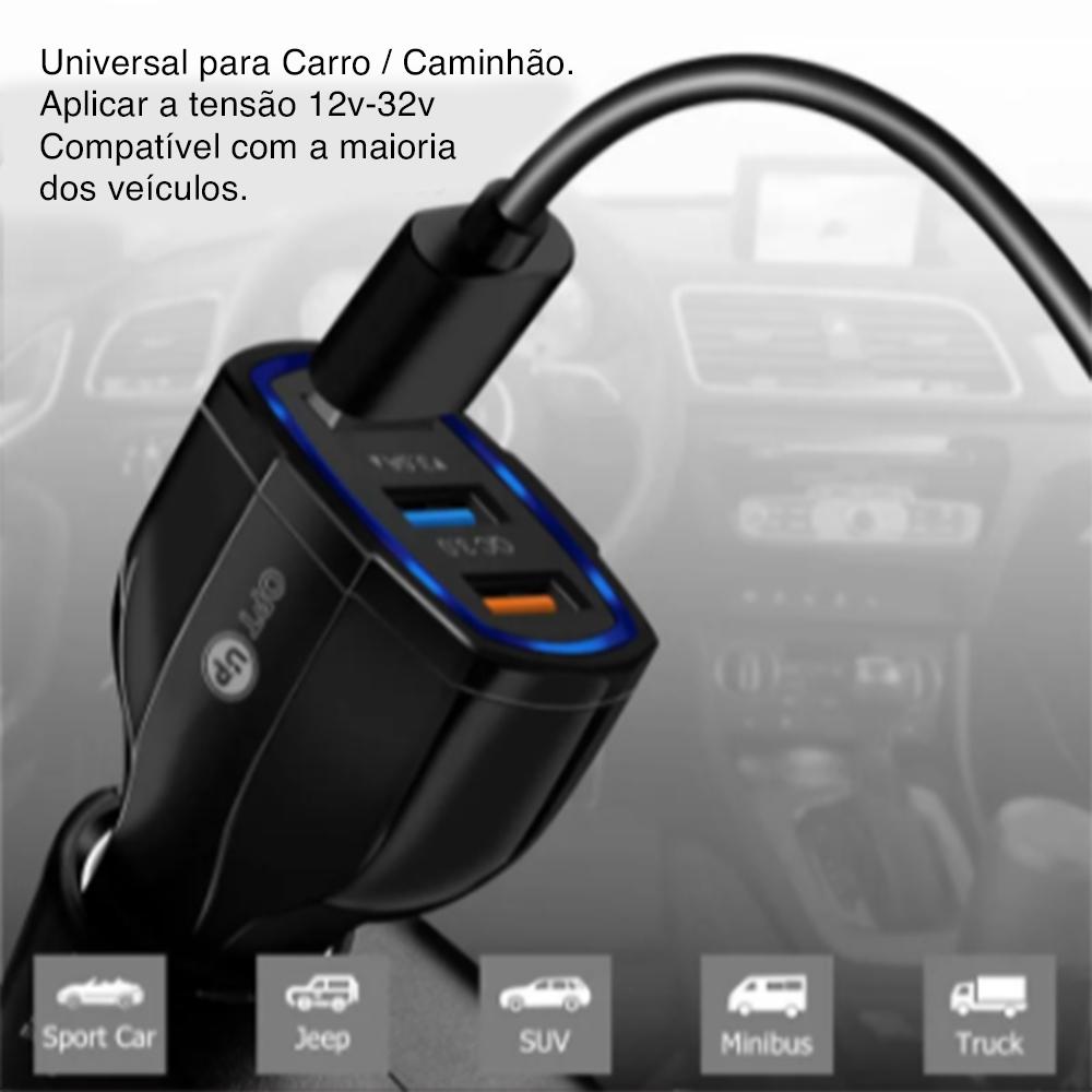 OPTUP Carregador Turbo Veicular Qualcomm 3.0 -  3 entradas