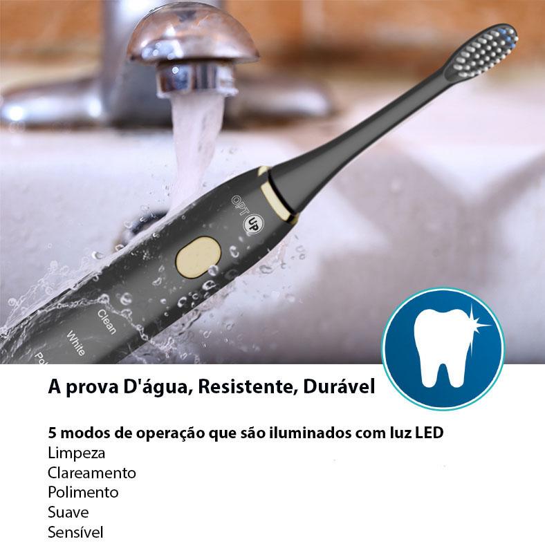 OPTUP Escova Dental Sônica Elétrica Recarregável 5 Modos De Limpeza  Preta