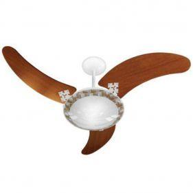Ventilador de Teto Venti-Delta Ventus Branco 3 Pás Mogno 127V Silencioso e Potente