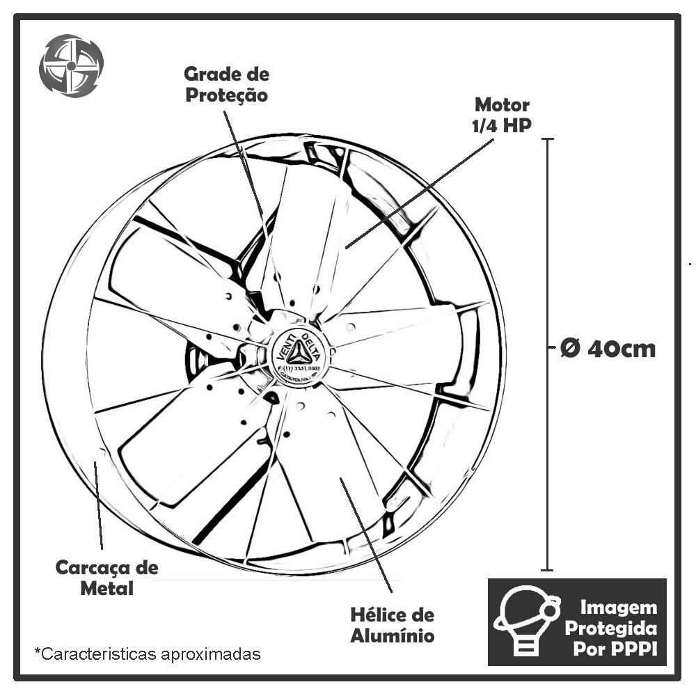 Exaustores Axiais 40 cm Venti-Delta 40 (Monofásico de Alta Rotação 1.600 RPM)