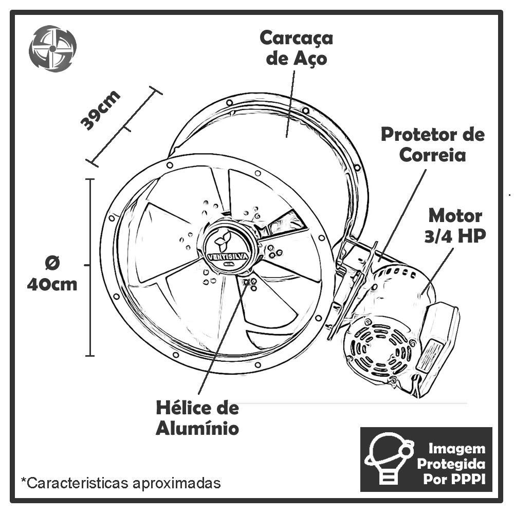 Exaustor de Transmissão (com Correia) Ventisilva E40 TTR (Trifásico - 1.750 RPM de 3/4 HP)
