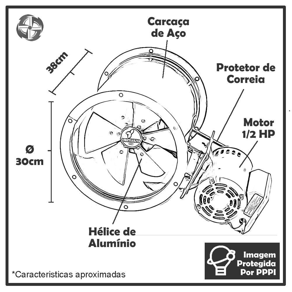 Exaustor de Transmissão (com Correia) Ventisilva E 30 TTR (Trifásico - 1.700 RPM de 1/2 HP)