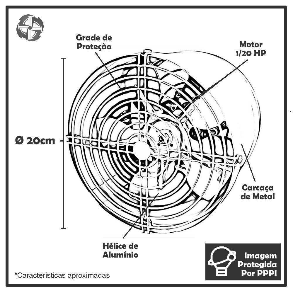 Exaustores Axiais 20 cm Qualitas EQ200 M2 (Monofásico de Alta Rotação 3.400 RPM)