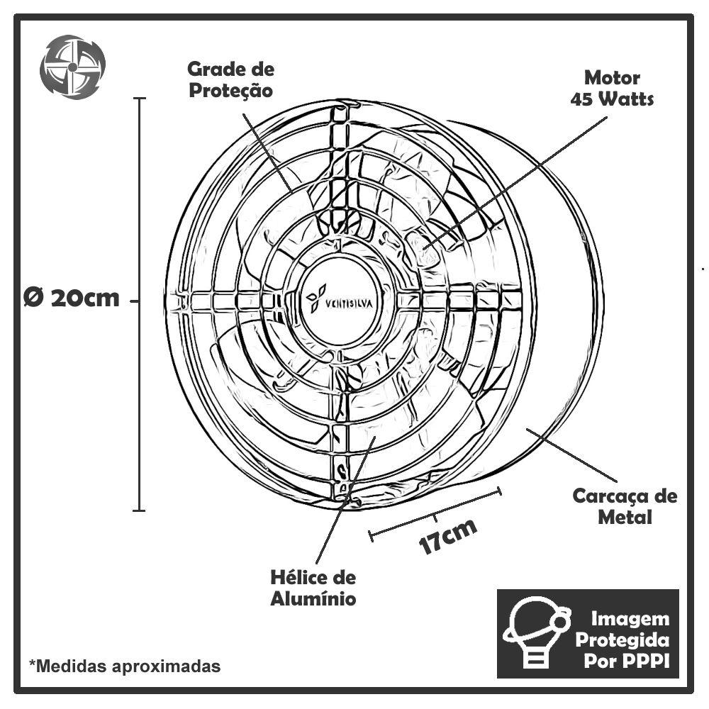 Exaustores Axiais 20 cm Ventisilva E20 M4 (Monofásico de Alta Rotação 1.730 RPM)