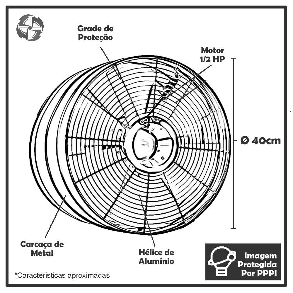 Exaustores Axiais 40 cm GoAr EX 40 P (Monofásico de Alta Rotação 1.650 RPM)