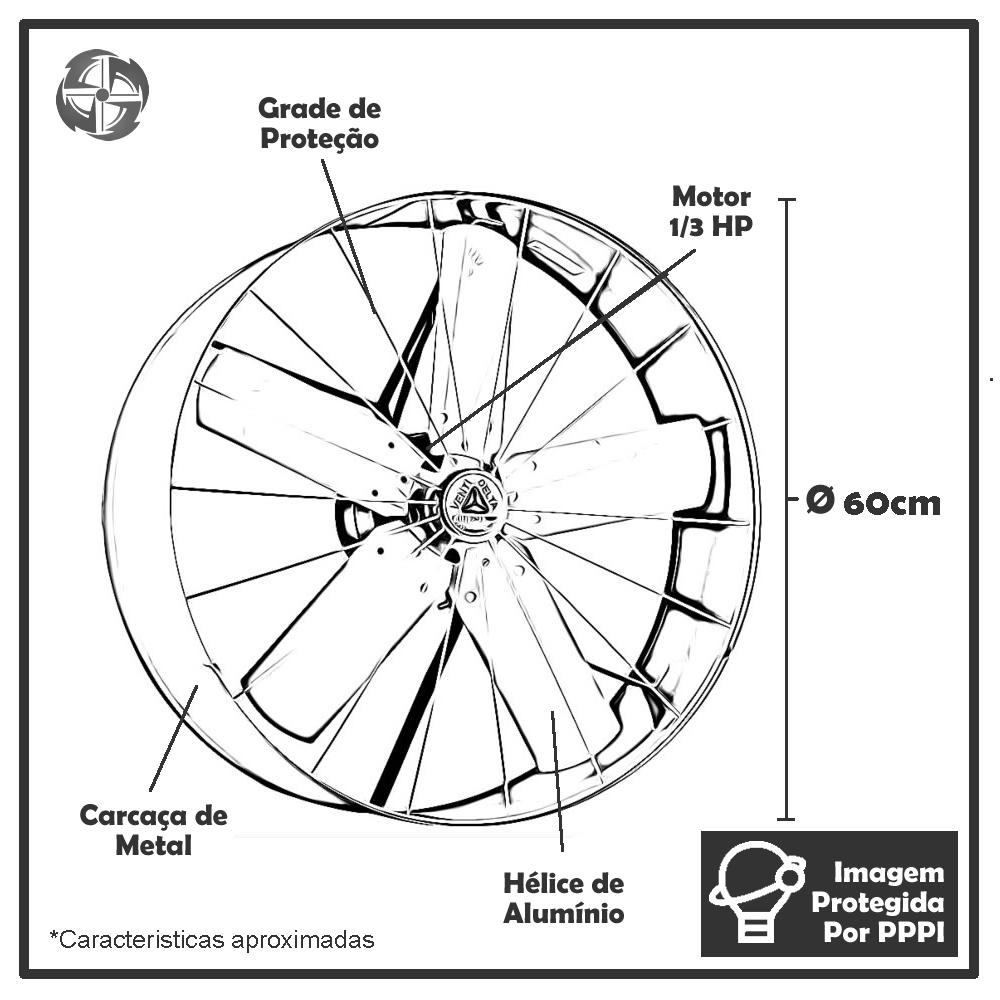 Exaustores Axiais 60 cm Venti-delta 60 (Monofásico de Alta Rotação 1.580 RPM)