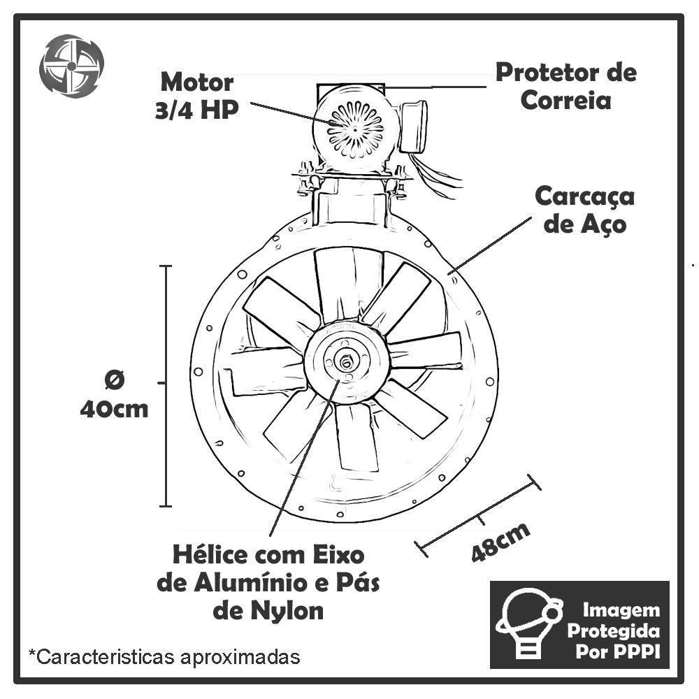 Exaustor de Transmissão (com Correia) Mais Vento ECV 40 MTR (Monofásico - 1.700 RPM de 3/4 HP)