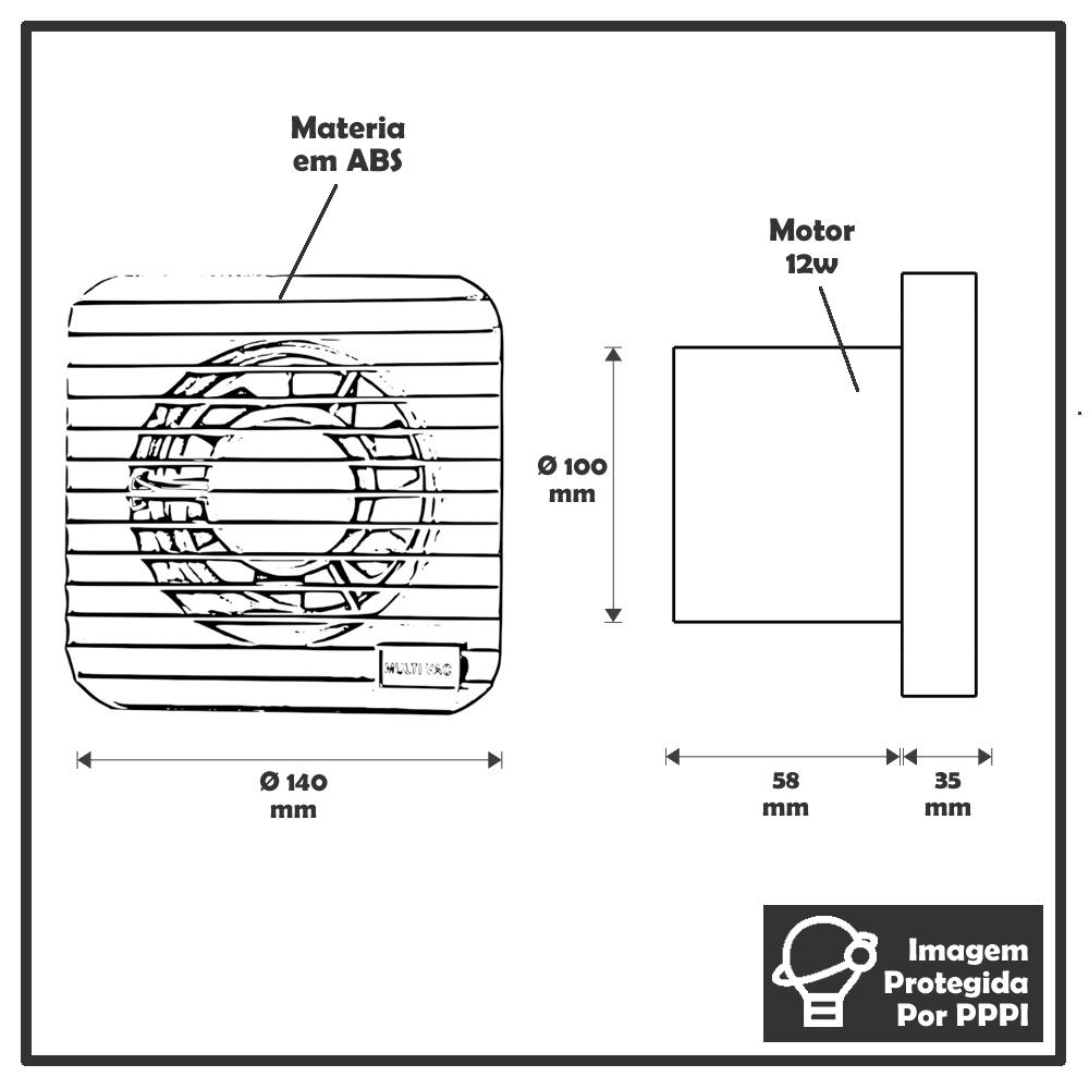 Exaustores Para Banheiro (Ambiente) 100mm Multivac (Indicado para até 4 M²)