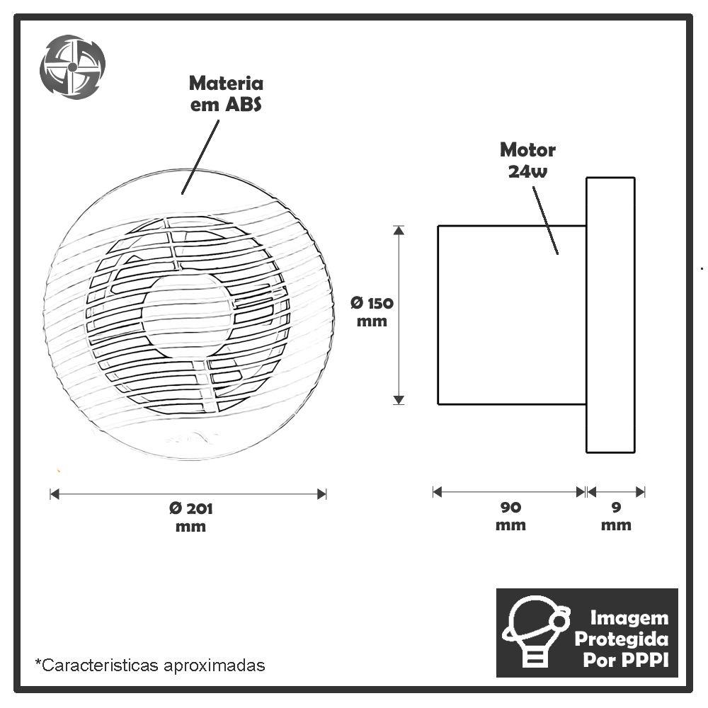 Exaustores Para Banheiro (Ambiente) 150mm Sicflux Arkit 34 (Indicado para até 15 M²)