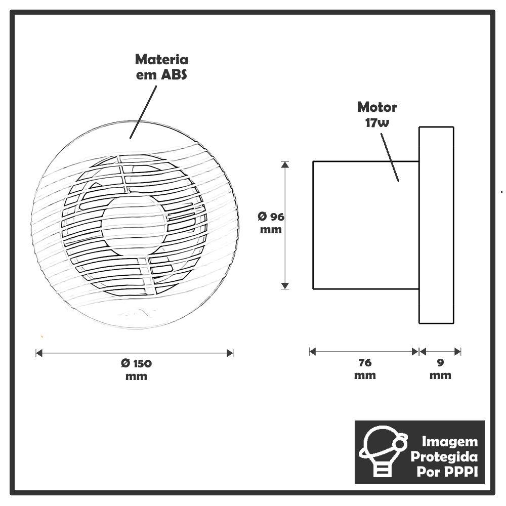Exaustores Para Banheiro (Ambiente) 100mm Sicflux Arkit 11 (Indicado para até 5 M²)