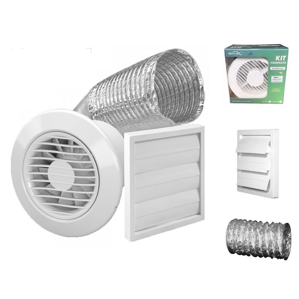 Kit Exaustores Para Banheiro (Ambiente) 100mm Sicflux Arkit 11 (Indicado para até 5 M²)